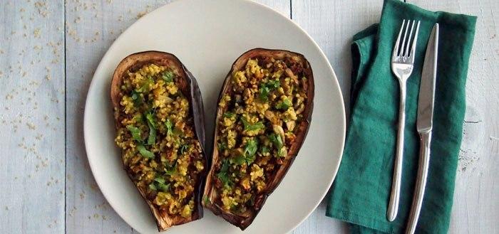 Eggplant stuffed with bulgur, leeks and mushrooms | My Cosy Retreat