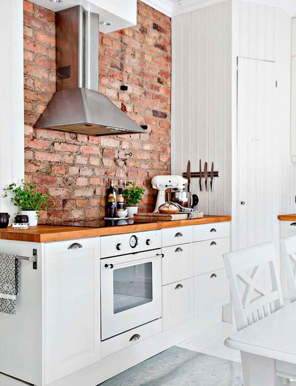 10 charming brick wall kitchen designs for 2 wall kitchen designs