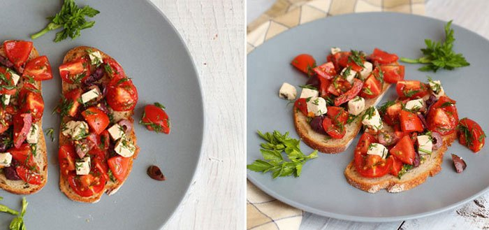 Tofu and cherry tomato bruschetta with fresh dill and olives | My Cosy Retreat