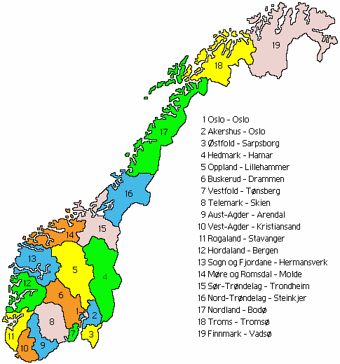 The 19 Norwegian electoral counties.