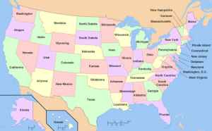 A map of the United States with states