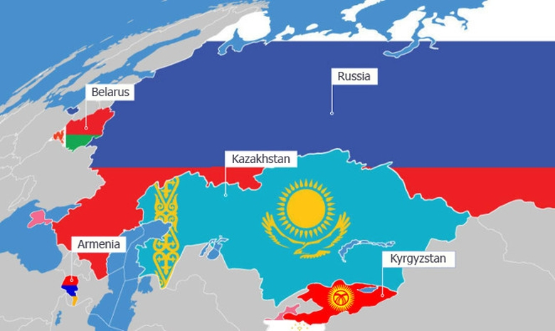Map of the five Member States of the Eurasian Economic Union