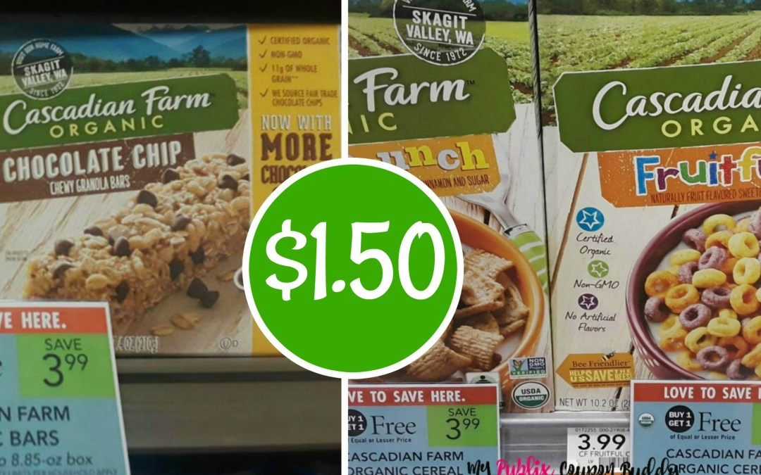 Cascadian Farms Granola Bars or Cereal $1.50 at Publix