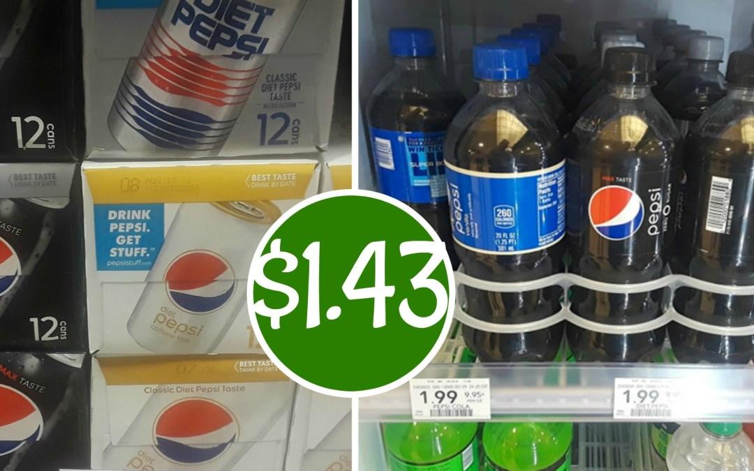 12 pk Pepsi, Pepsi Zero 20 oz and Bag of Frito Lay Chips $1.43 ea.