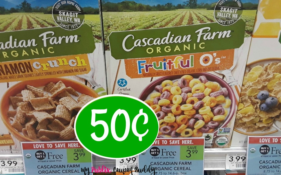 Cascadian Farms Cereal 50¢ at Publix (after Ibotta rebate)