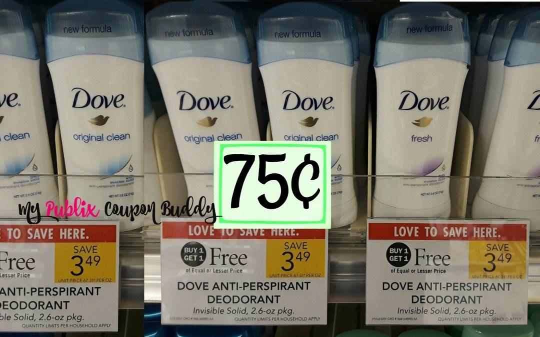 Dove Deodorant 75¢ at Publix