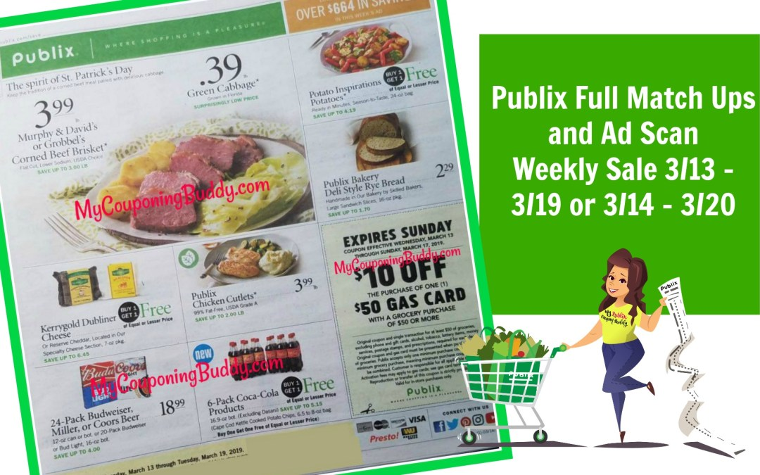 Publix Full Match Ups and Ad Scan 3/13 – 19 or 3/14 – 3/20