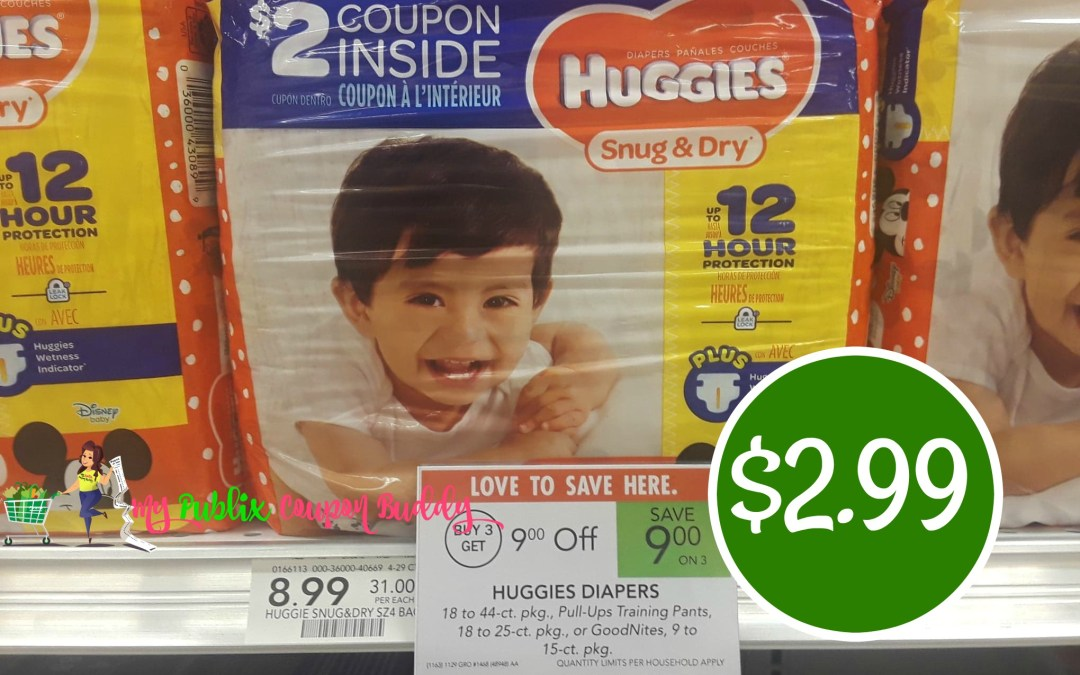 Huggies Snug & Dry Diapers $2.99 at Publix