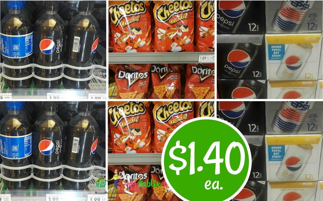 Pepsi 12 pk, 20 oz and Frito Lay Chips $1.40 ea. at Publix