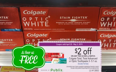 Colgate Optic White Toothpaste as low as FREE at Publix