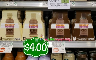 Dunkin Donuts Iced Coffee 4pk $4 at Publix