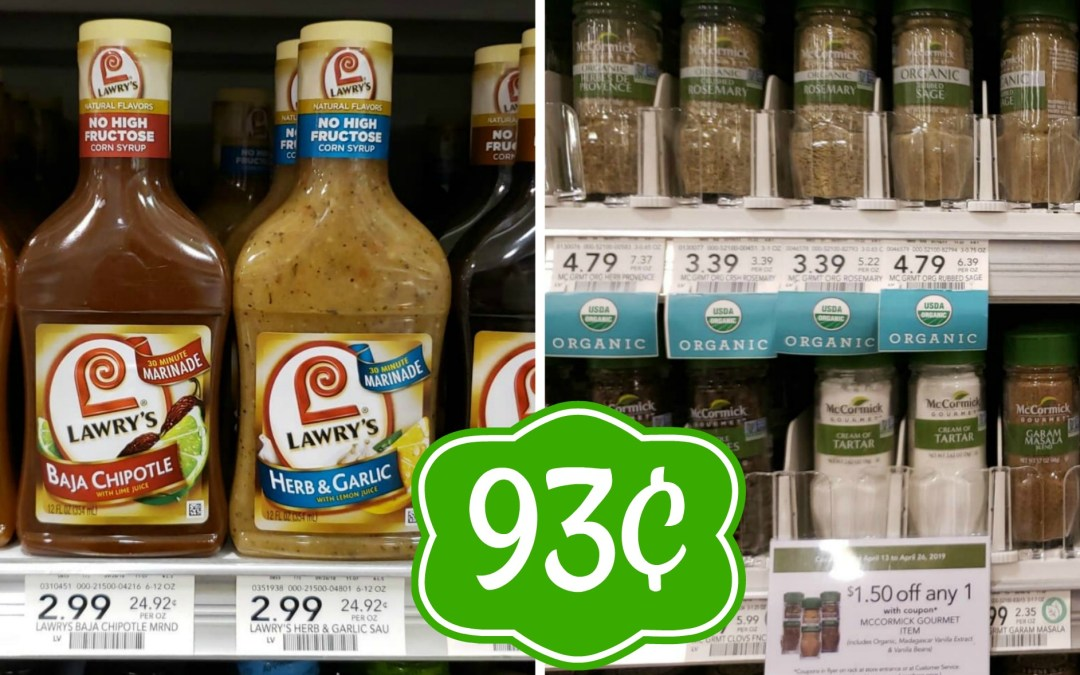 Lawry's 30 Minute Marinade & McCormick Gourmet Spices 93¢ at Publix