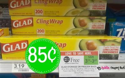 Glad Cling Wrap 85¢ at Publix