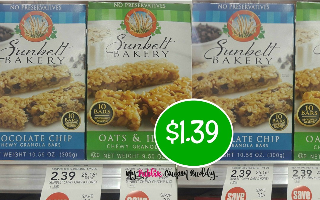 SunBelt Granola Bars $1.39 at Publix