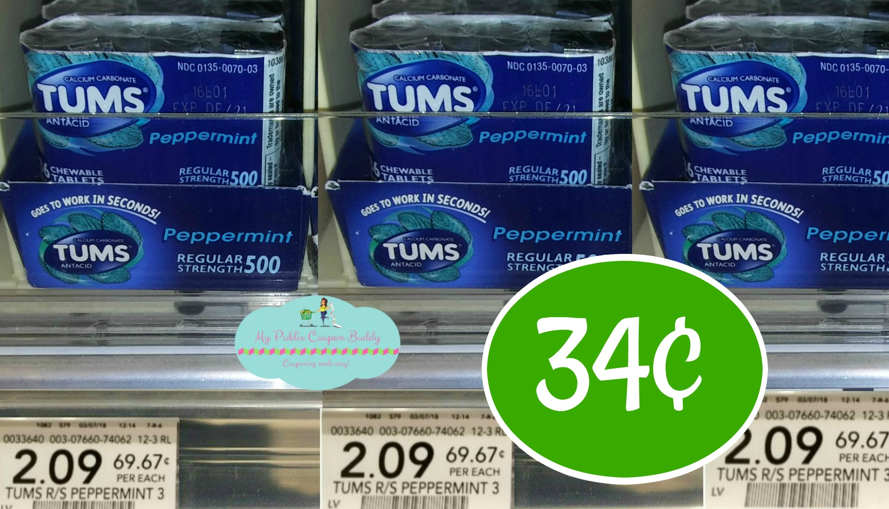 graphic relating to Tums Printable Coupon titled Tums 3pk 34¢ at Publix My Publix Coupon Friend