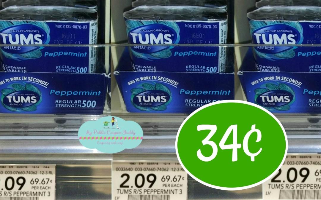 Tums 3pk 34¢ at Publix