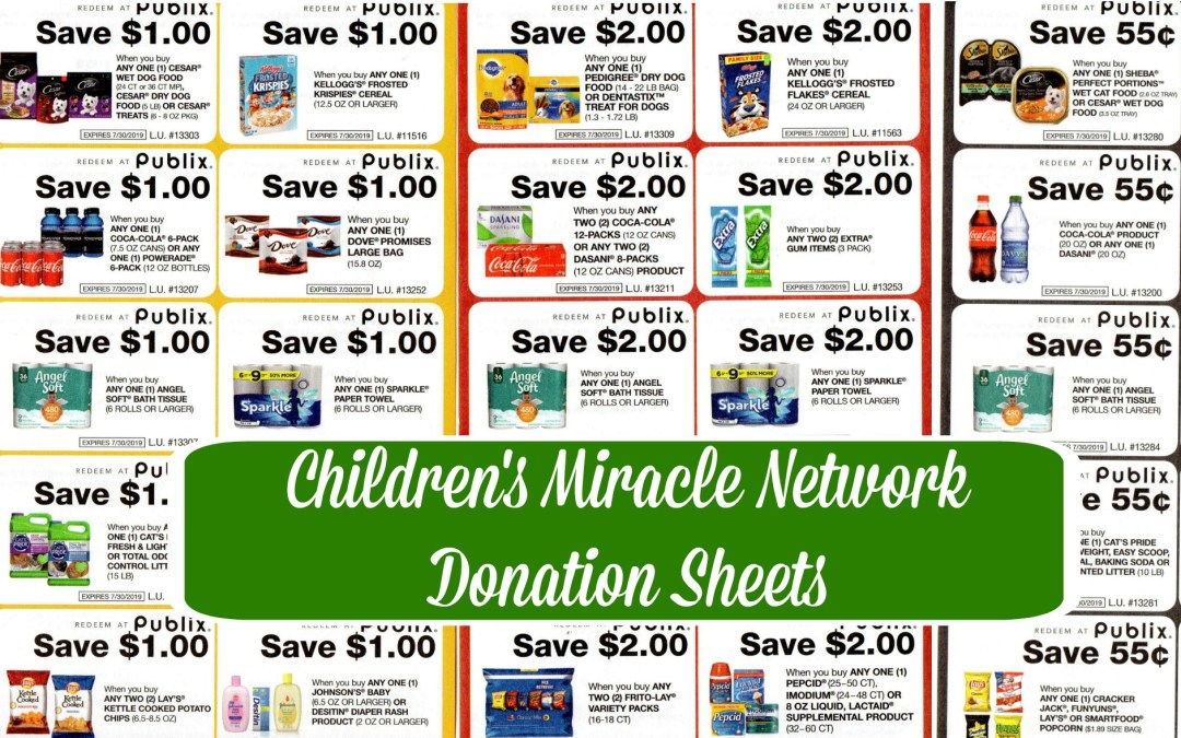 Publix Coupons: Children's Miracle Network Donation Sheets