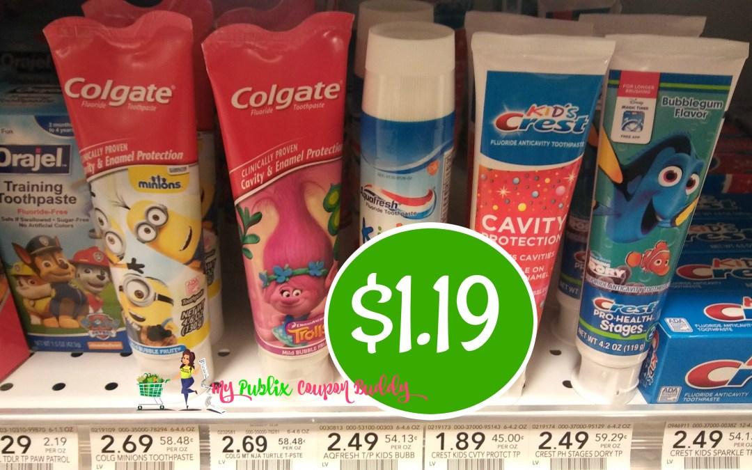 Colgate Kids Toothpaste $1.19 at Publix