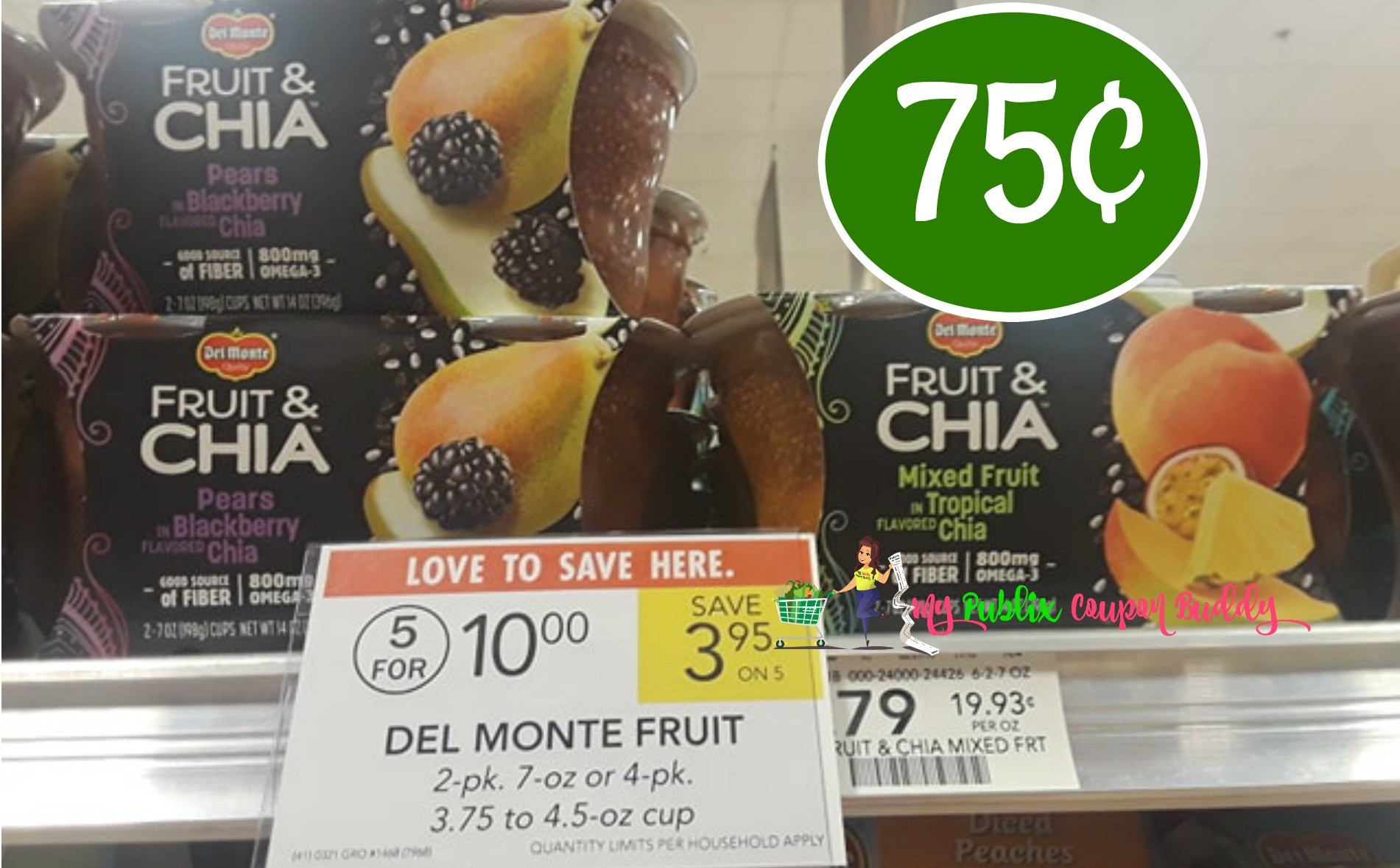 image about Del Monte Printable Coupons referred to as Del Monte Fruit Refreshers or Fruit Chia 75¢ at Publix