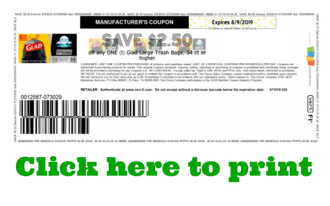 Click here to print this High Value Glad Trash bag coupon