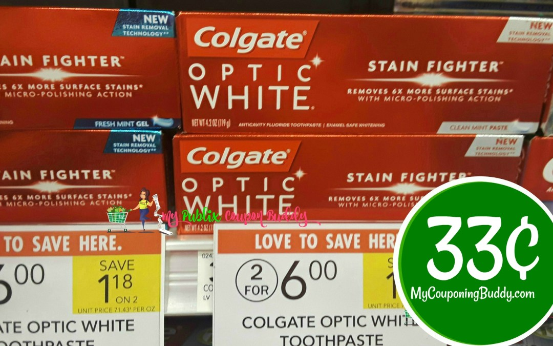 Colgate Optic White Toothpaste 33¢ at Publix