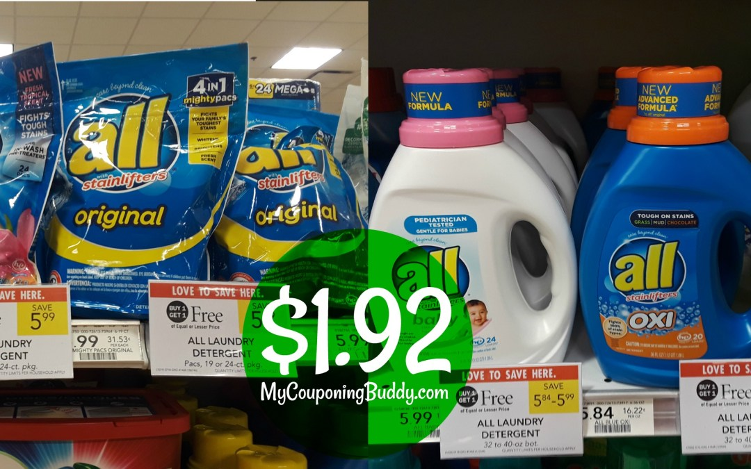 All Laundry Detergent $1.92 at Publix
