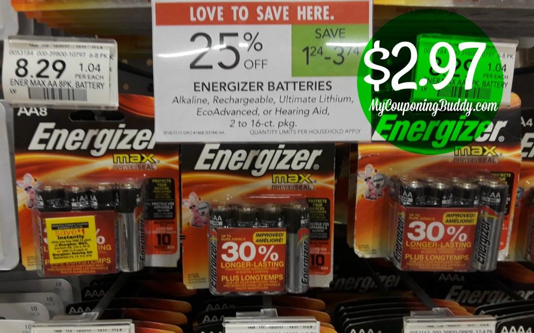 Energizer 8pk AA/AAA Batteries $2.97 at Publix