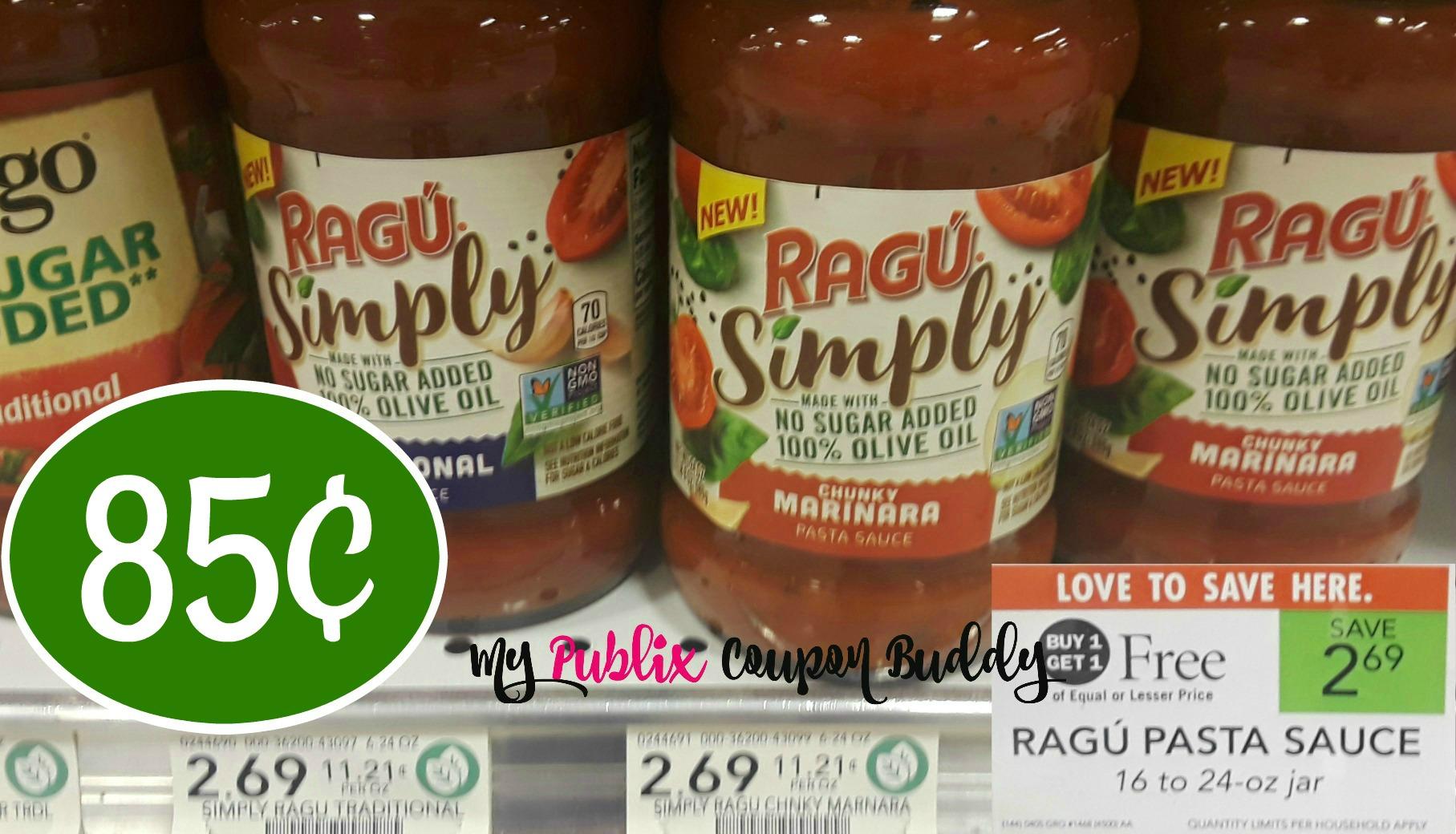 picture regarding Ragu Printable Coupons identify Ragu Pasta Sauce 85¢ at Publix My Publix Coupon Mate