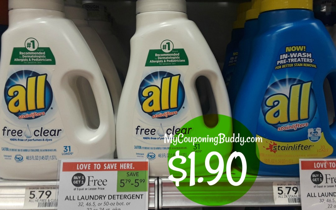All Laundry Detergent as low as $1.90 at Publix