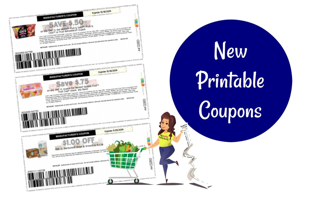New Printable Coupons ~ Del Monte, Starbucks and more!