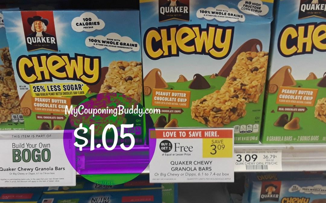 Quaker Granola Bars $1.05 at Publix