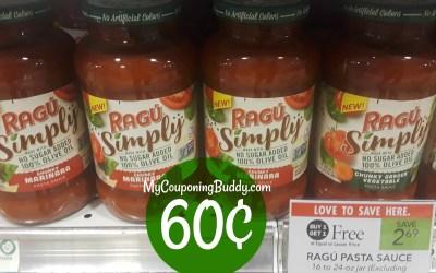 Ragu Simply Sauce 60¢ at Publix