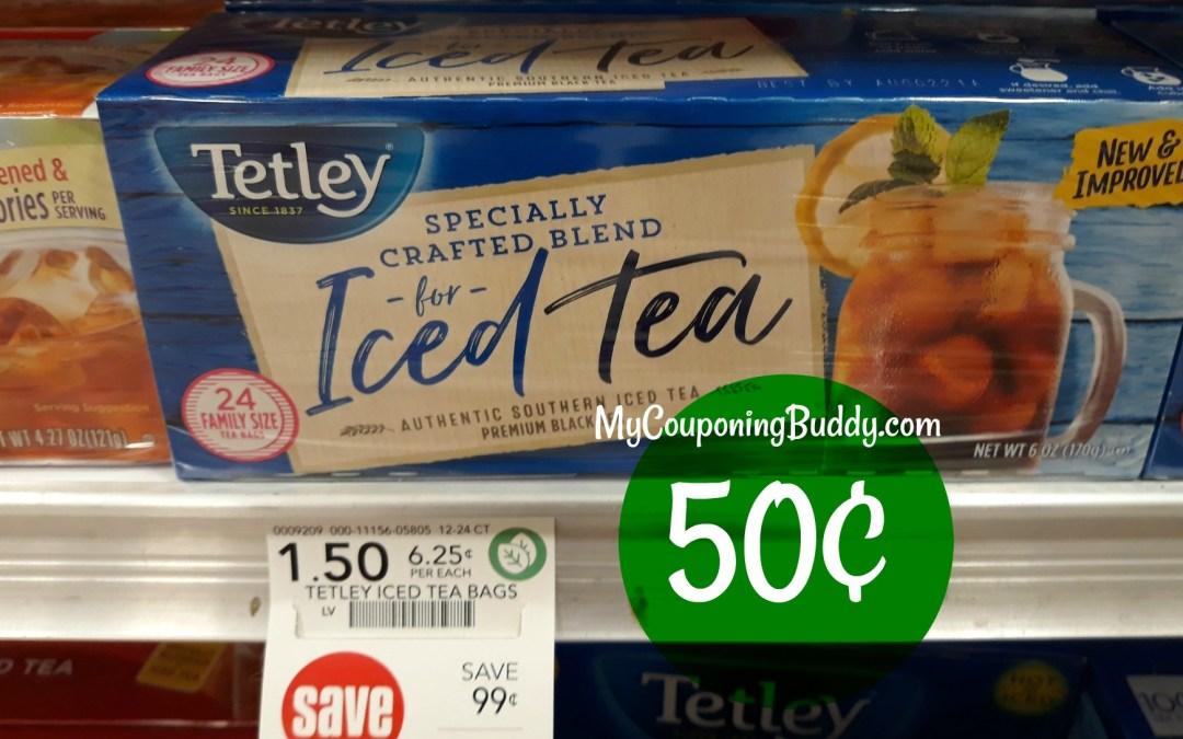 Tetley Iced Tea Bags 50¢ at Publix