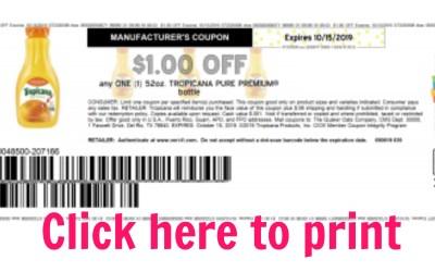 Hot New $1/1 Tropicana Printable Coupon