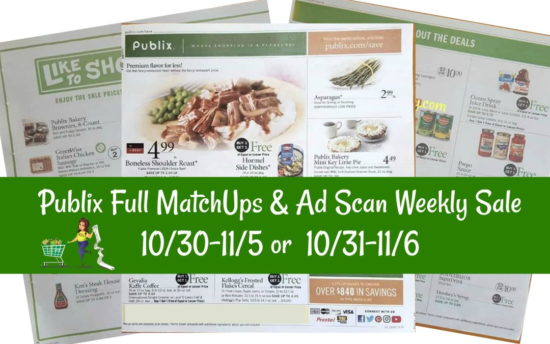 Publix Full MatchUps & Ad Scan Weekly Sale 10/30-11/5 or 10/31-11/6