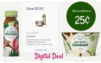 Chobani Non Dairy Yogurt 25¢ at Publix
