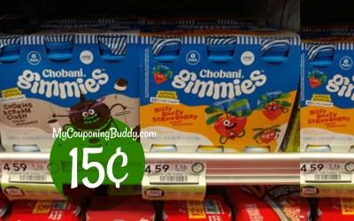 Chobani Gimmies 6pk 15¢ for Half BOGO at Publix