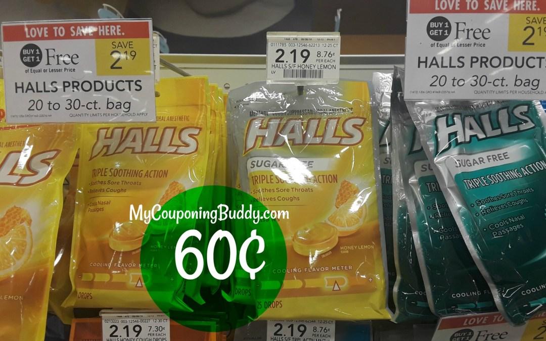 Halls Cough Suppressant 60¢ at Publix