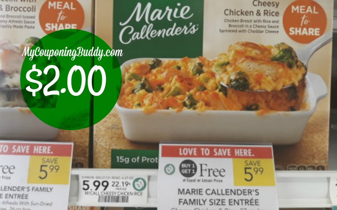 Marie Callender's Family Size Entrees as low as $2 at Publix