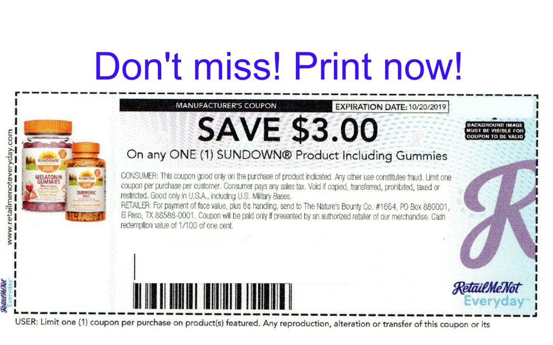 New Sundown Printable Coupon – Print now!