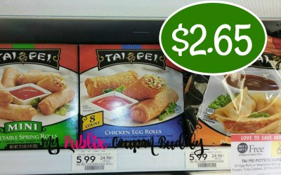 Tai Pei Potstickers or Egg Rolls or Vegetable Spring Rolls $2.65 at Publix