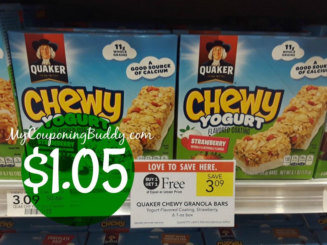 Quaker Chewy Bars $1.05 at Publix