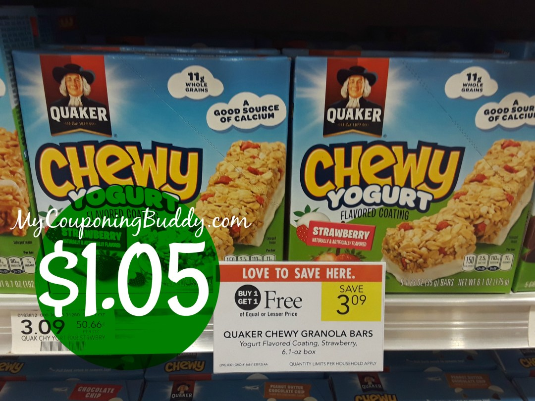 Quaker Chewy Bars $1.05 at Publix