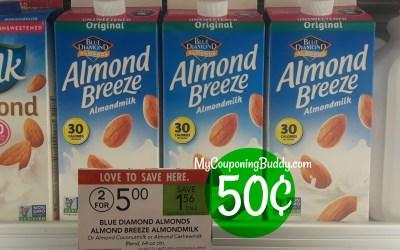 Blue Diamond Almond Breeze Almond Milk 50¢ at Publix
