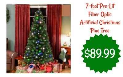 7-foot Pre-Lit Fiber Optic Artificial Christmas Pine Tree just $89.99