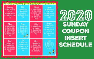 2020 Sunday Coupon Insert Schedule