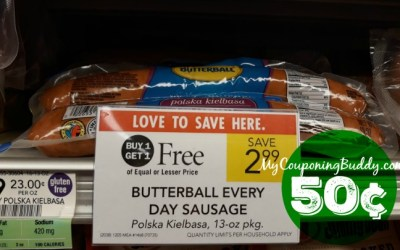 Butterball Sausage 50¢ at Publix (after Ibotta Rebate)