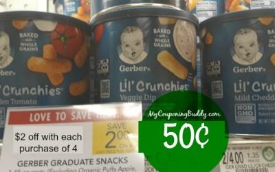 Gerber Snacks 50¢ at Publix