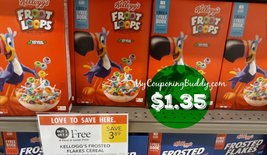 Kellogg's Cereal $1.35 at Publix