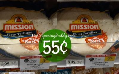 MIssion Flour Tortillas 8 ct. 55¢ at Publix